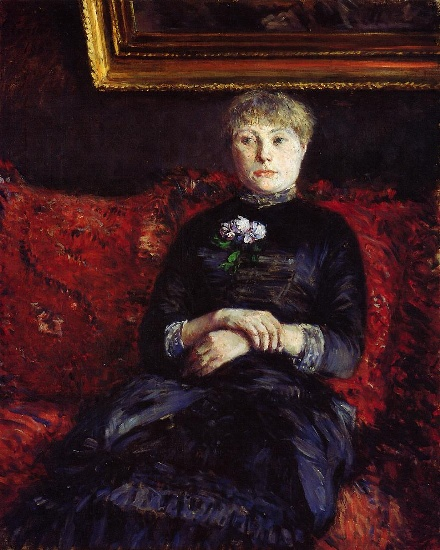 Woman Sitting on a Red-Flowered Sofa 02, Oil by Gustave Caillebotte (1848-1894, France)