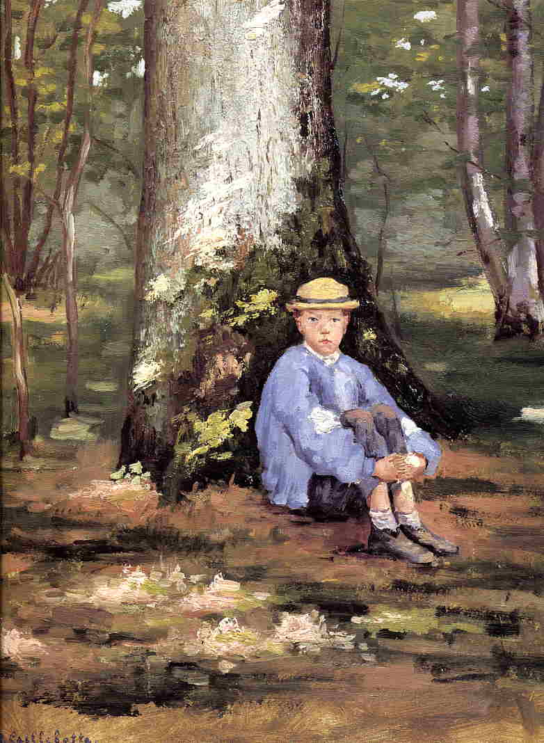Yerres, Camille Daurelle under an Oak Tree, 1871 by Gustave Caillebotte (1848-1894, France) | Oil Painting | WahooArt.com