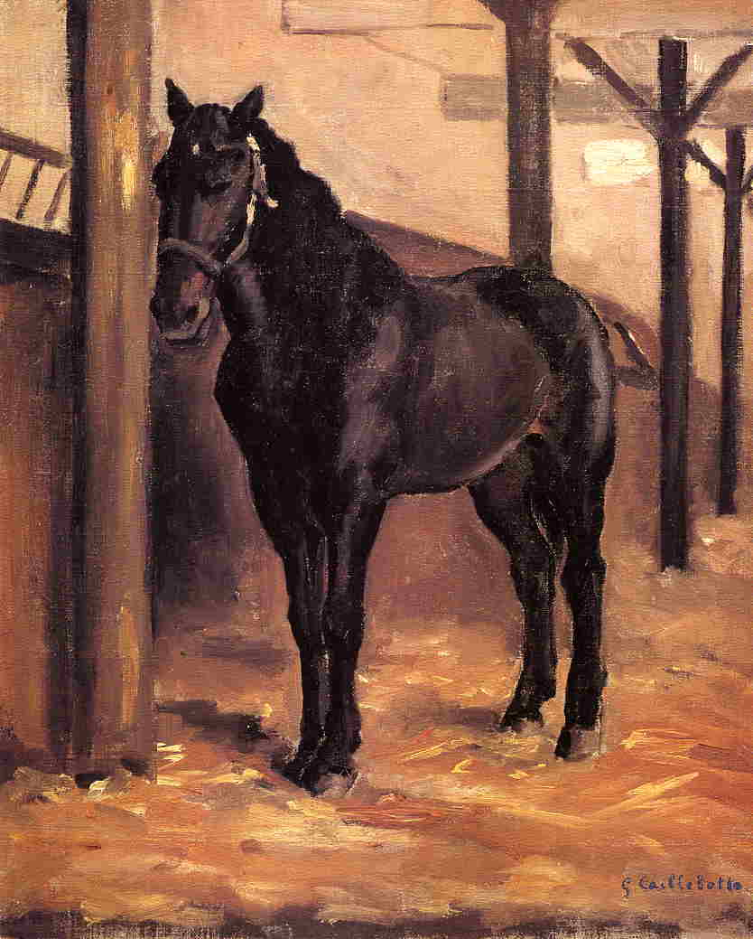 Yerres, Dark Bay Horse in the Stable, 1871 by Gustave Caillebotte (1848-1894, France) | Painting Copy | WahooArt.com