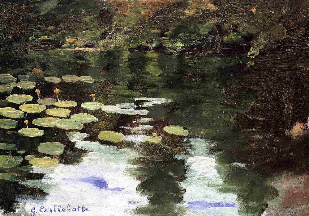 Yerres, on the Pond, Water Lilies, 1871 by Gustave Caillebotte (1848-1894, France) | Oil Painting | WahooArt.com