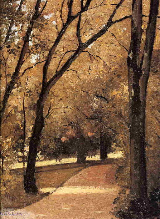 Yerres, Path Through the Old Growth Woods in the Park, Oil On Canvas by Gustave Caillebotte (1848-1894, France)