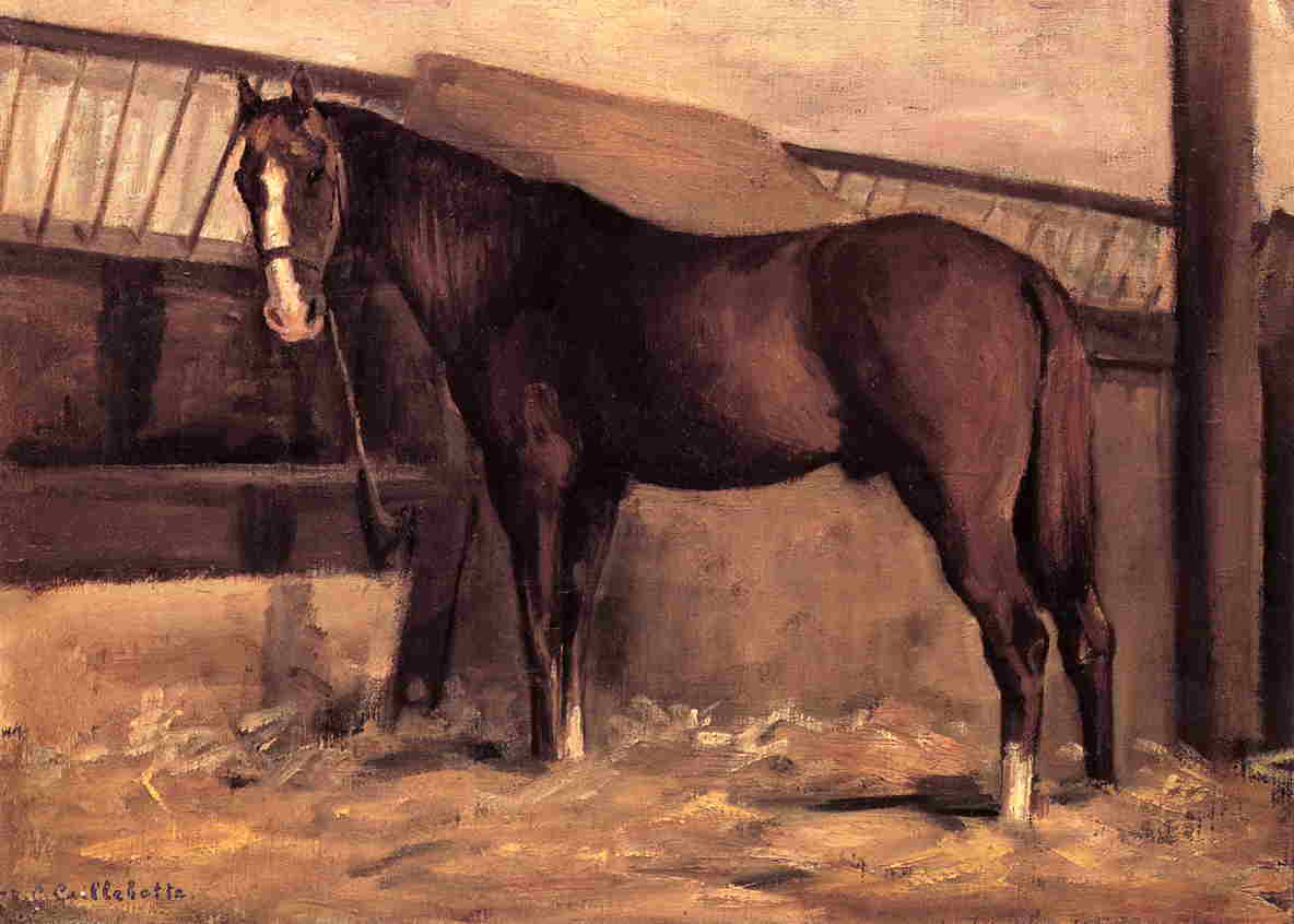 Yerres, Reddish Bay Horse in the Stable, Oil On Canvas by Gustave Caillebotte (1848-1894, France)
