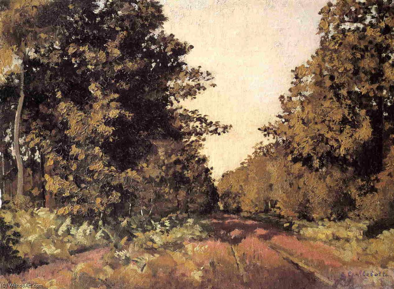 Yerres, Woods at la Grange, Path of the Great `Ha-Ha`, 1874 by Gustave Caillebotte (1848-1894, France) | Famous Paintings Reproductions | WahooArt.com