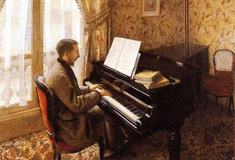 Young Man Playing the Piano, Oil On Canvas by Gustave Caillebotte (1848-1894, France)