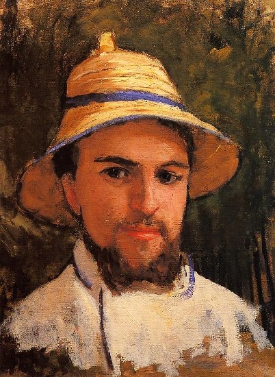 Self Portrait (fragment) aka Self Portrait Wearing a Summer Hat, Oil by Gustave Caillebotte (1848-1894, France)