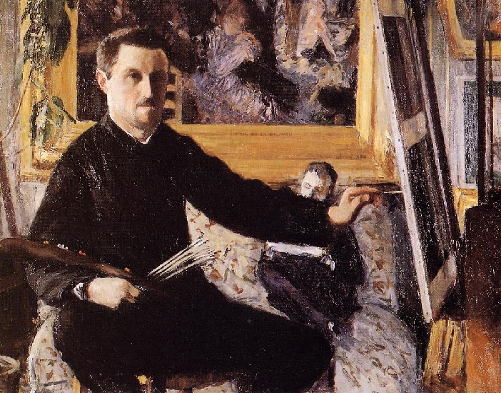 Self Portrait with Easel -, Oil by Gustave Caillebotte (1848-1894, France)