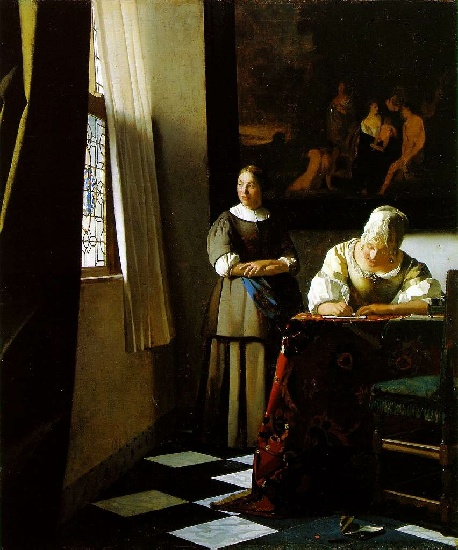 Lady Writing a Letter with Her Maid [c. 1670], Oil by Jan Vermeer (1632-1675, Netherlands)