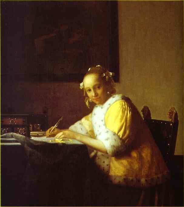 Lady Writing a Letter, Oil by Jan Vermeer (1632-1675, Netherlands)
