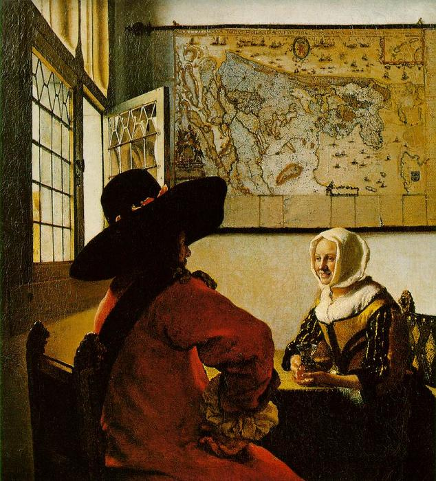 Soldier and a Laughing Girl, Oil On Canvas by Jan Vermeer (1632-1675, Netherlands)
