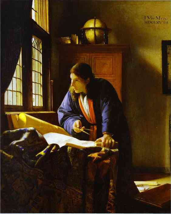 The Geographer, Oil by Jan Vermeer (1632-1675, Netherlands)
