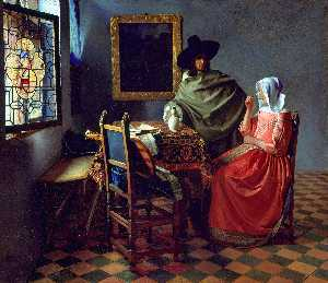 Jan Vermeer - A Lady Drinking and a Gentleman and The Glass of Wine