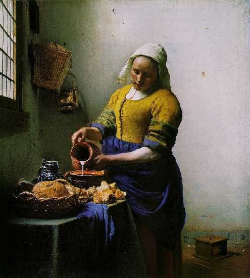 The Milkmaid [c. 1658-60] by Jan Vermeer (1632-1675, Netherlands) | Museum Quality Reproductions | WahooArt.com