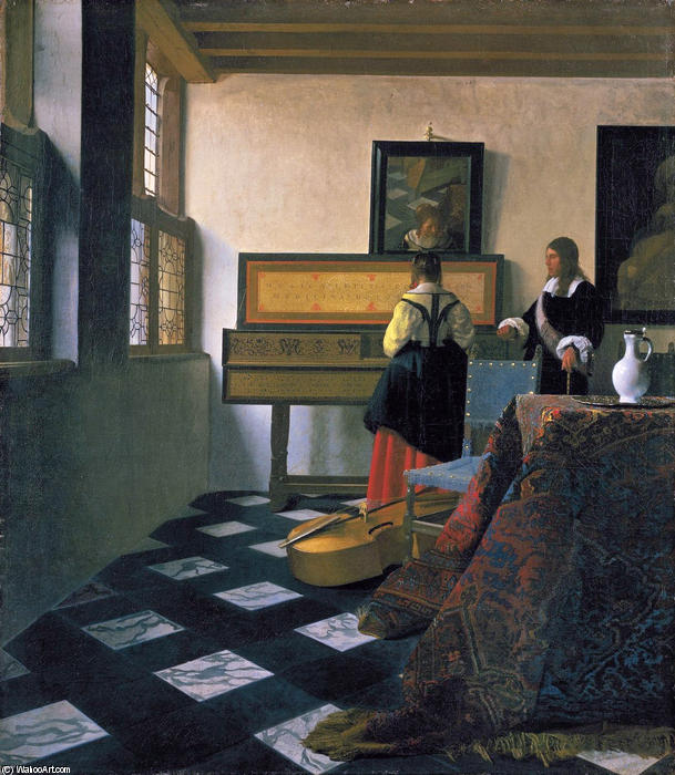 The music lesson, Oil On Canvas by Jan Vermeer (1632-1675, Netherlands)