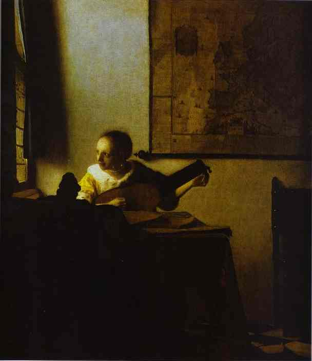 Woman Playing a Lute near a Window, Oil by Jan Vermeer (1632-1675, Netherlands)