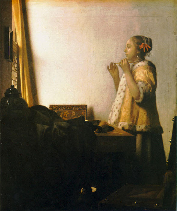 Woman with a Pearl Necklace by Jan Vermeer (1632-1675, Netherlands)