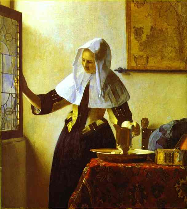 Woman with a Water Jug, Oil by Jan Vermeer (1632-1675, Netherlands)