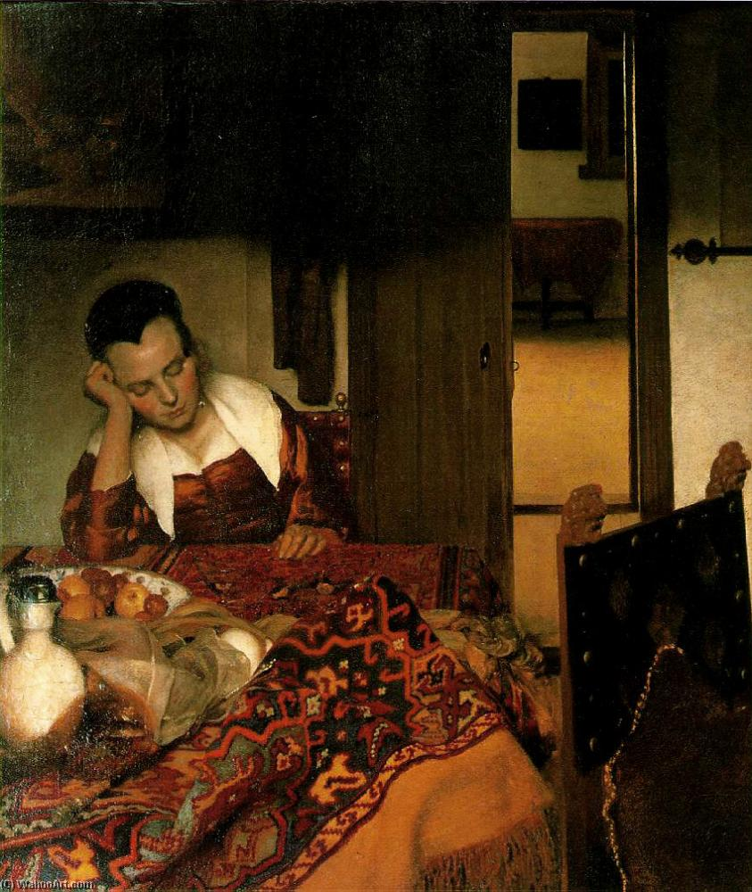 Buy Museum Art Reproductions | Girl asleep at a table by Jan Vermeer (1632-1675, Netherlands) | WahooArt.com