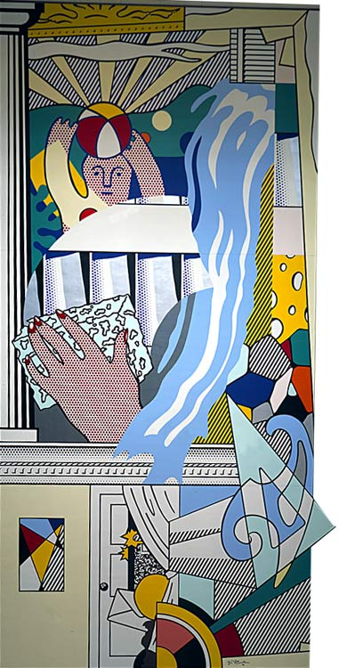 Mural with Blue Brushstroke, 1984 by Roy Lichtenstein (1923-1997, United States) |  | WahooArt.com