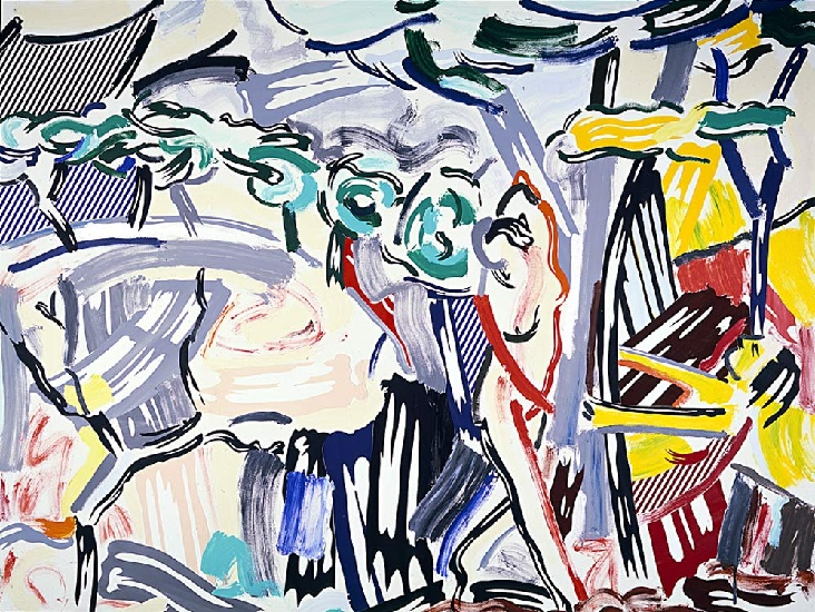 Figures in Landscape, 1985 by Roy Lichtenstein (1923-1997, United States) |  | WahooArt.com