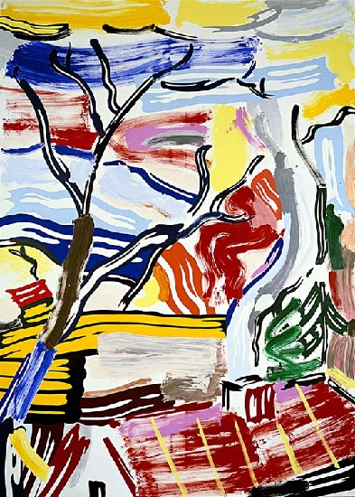 Landscape With Red Roof, 1985 by Roy Lichtenstein (1923-1997, United States) |  | WahooArt.com