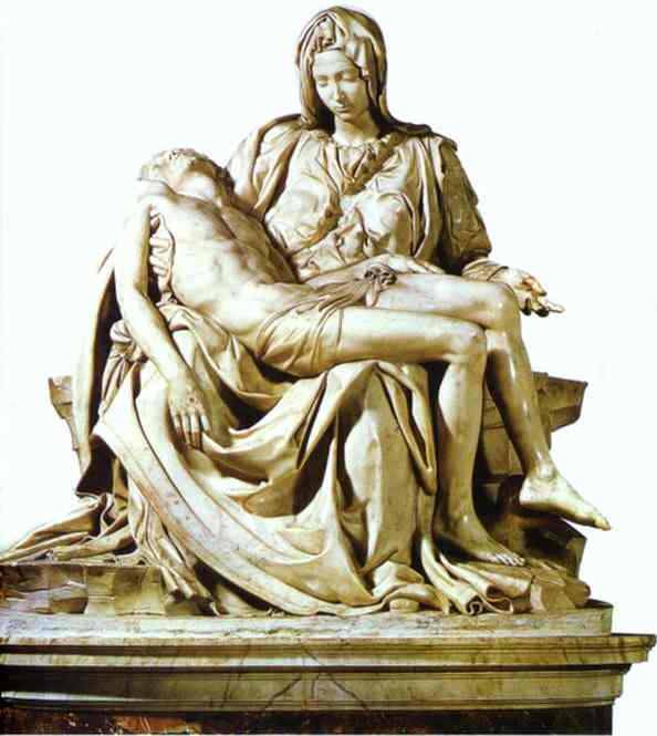 Pieta, Sculpture by Michelangelo Buonarroti (1475-1564, Italy)