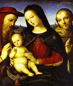 Raphael (Raffaello Sanzio Da Urbino) - Madonna with the Christ Child Blessing and St. Jerome and St. Francis (Von der Ropp Madonna)
