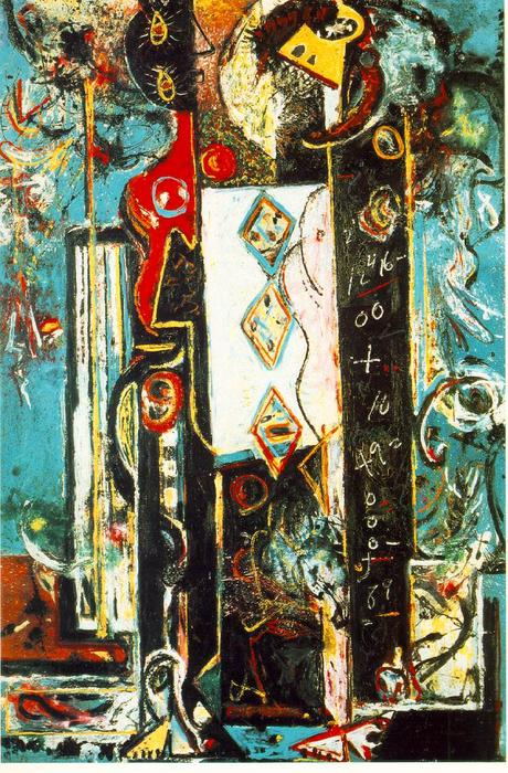 Male and Female, Oil On Canvas by Jackson Pollock (1912-1956, United States)