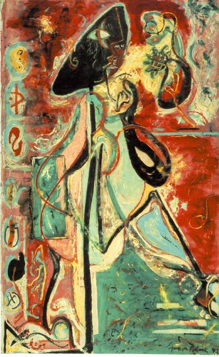 The Moon-Woman, Oil by Jackson Pollock (1912-1956, United States)