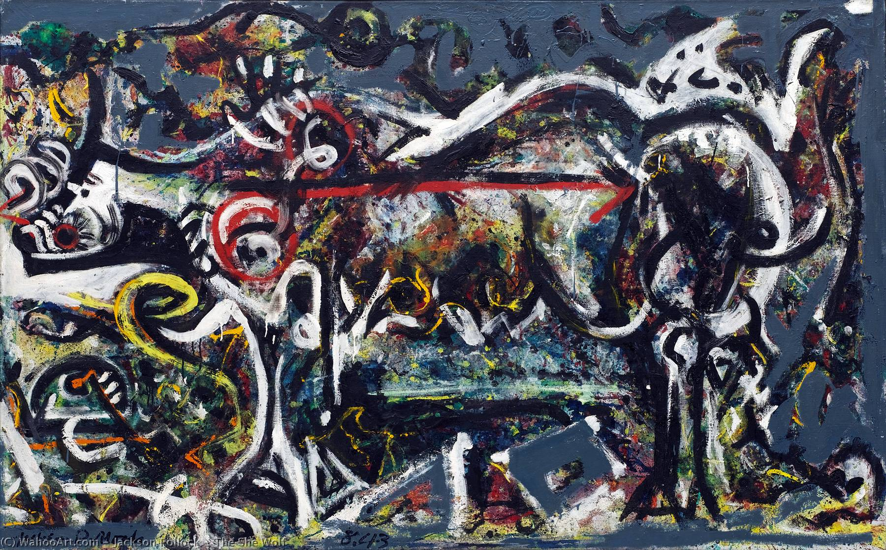 The She Wolf, 1943 by Jackson Pollock (1912-1956, United States) | Museum Quality Reproductions | WahooArt.com