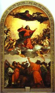 Order Museum Quality Reproductions : Assumption of the Virgin (Assunta) by Tiziano Vecellio (Titian) (1490-1576, Italy) | WahooArt.com