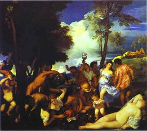 Tiziano Vecellio (Titian) - Bacchanal of the Andrians