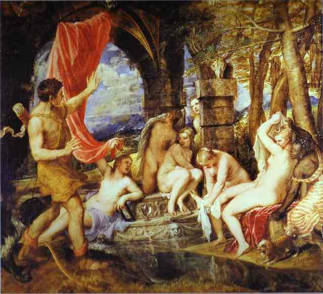 Diana and Actaeon, Oil by Tiziano Vecellio (Titian) (1490-1576, Italy)