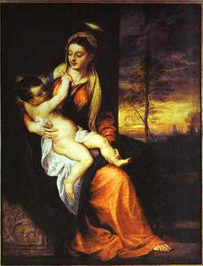 Tiziano Vecellio (Titian) - Madonna and Child in an Evening Landscape