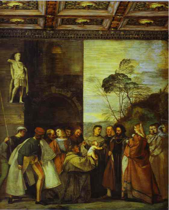 Order Paintings Reproductions | The Miracle of the Newborn Child by Tiziano Vecellio (Titian) (1490-1576, Italy) | WahooArt.com