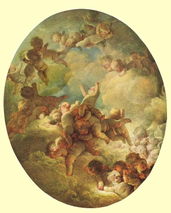 A Swarm of Cupids by Jean-Honoré Fragonard (1732-1806, France) | Famous Paintings Reproductions | WahooArt.com