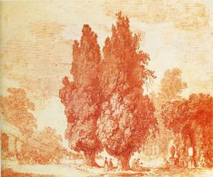Jean-Honoré Fragonard - Italian Park with Cypresses