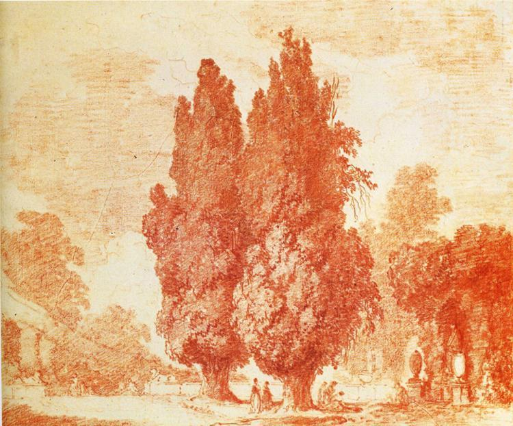 Italian Park with Cypresses by Jean-Honoré Fragonard (1732-1806, France) | Painting Copy | WahooArt.com