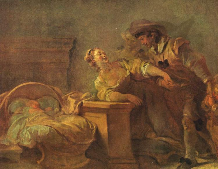 The Cradle of the Happy Family by Jean-Honoré Fragonard (1732-1806, France) | Art Reproduction | WahooArt.com