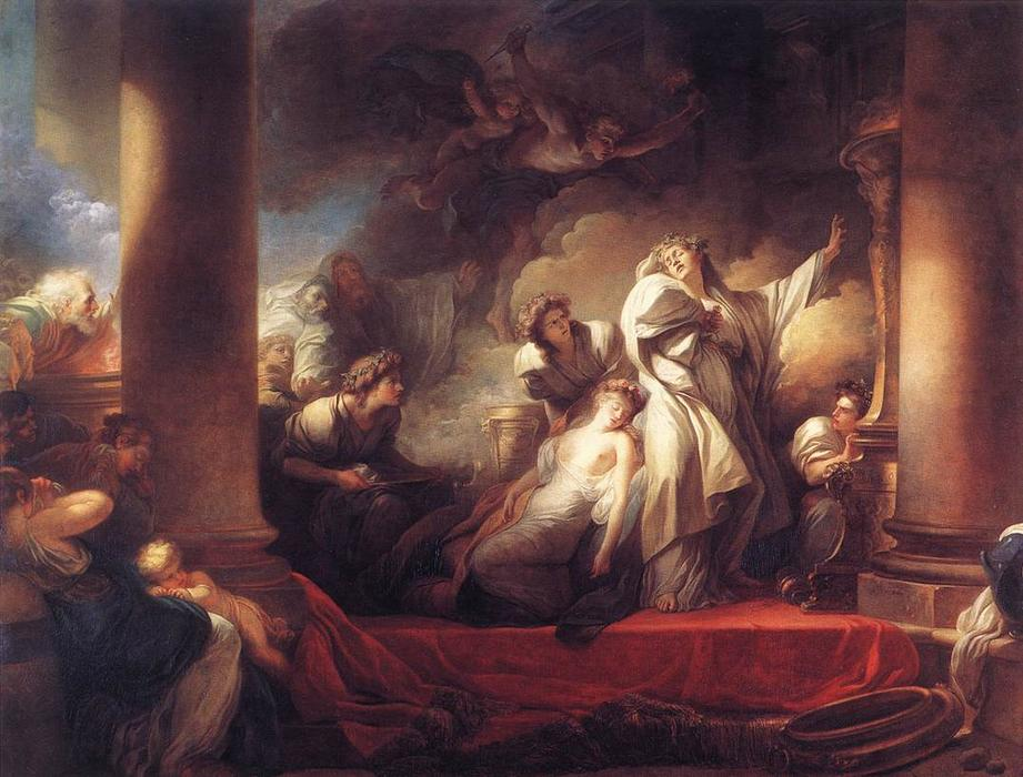 The High Priest Coresus Sacrifices Himself to Save Callirhoe by Jean-Honoré Fragonard (1732-1806, France) | Art Reproduction | WahooArt.com