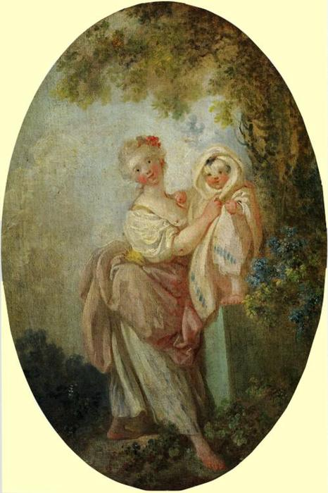 Young Woman Holding Up Her Child by Jean-Honoré Fragonard (1732-1806, France) | Museum Quality Reproductions | WahooArt.com