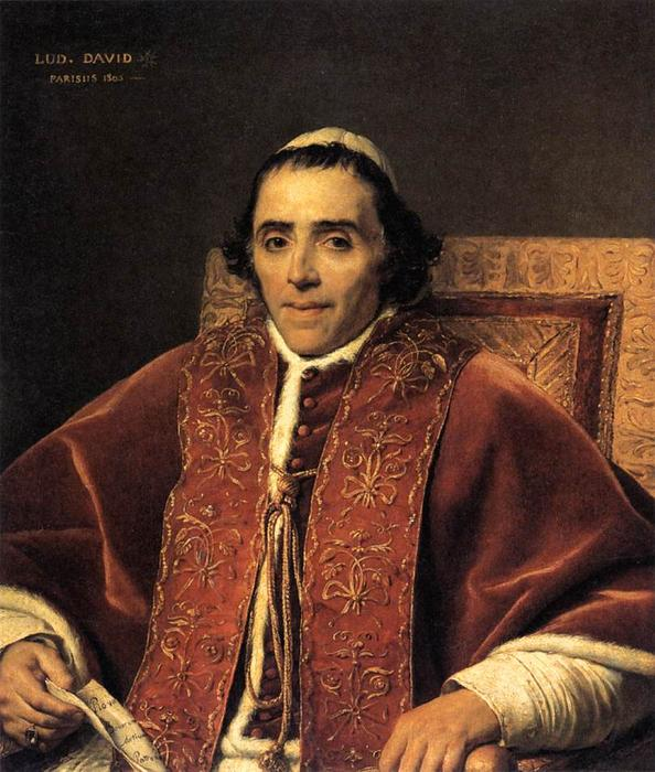 Portrait of Pope Pius VII, Oil On Canvas by Jacques Louis David (1748-1800, France)