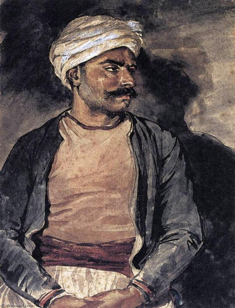A Turk (Mustapha), Chalk by Jean-Louis André Théodore Géricault (1791-1824, France)