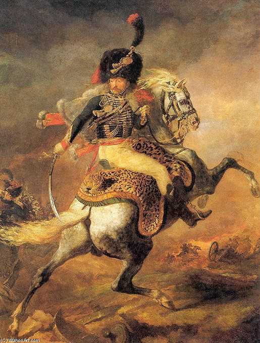 An Officer of the Chasseurs Commanding a Charge, Oil by Jean-Louis André Théodore Géricault (1791-1824, France)