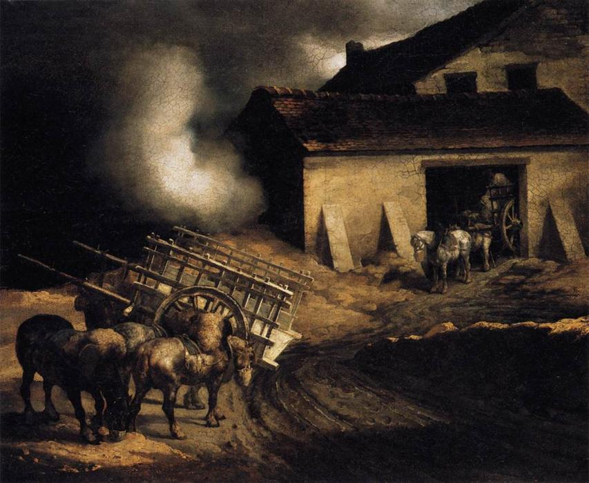 The Plaster Kiln, Oil On Canvas by Jean-Louis André Théodore Géricault (1791-1824, France)