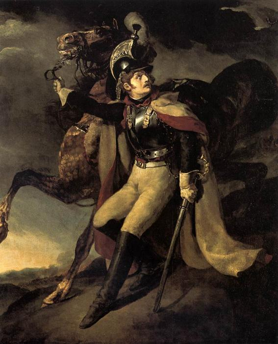 The Wounded Officer of the Imperial Guard Leaving the Battlefield, Oil On Canvas by Jean-Louis André Théodore Géricault (1791-1824, France)
