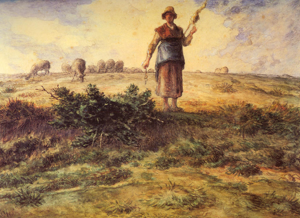A Shepherdess And Her Flock by Jean-François Millet (1814-1875, France) | Painting Copy | WahooArt.com