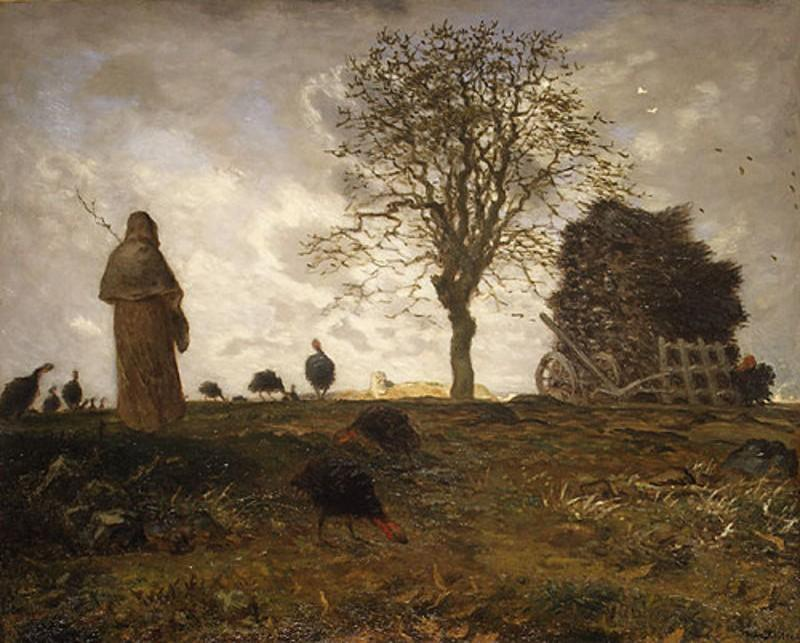 Autumn landscape with a flock of Turkeys, 1873 by Jean-François Millet (1814-1875, France) | Museum Quality Reproductions | WahooArt.com