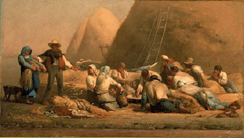 Harvesters Resting (Ruth and Boaz) by Jean-François Millet (1814-1875, France) | Museum Quality Reproductions | WahooArt.com