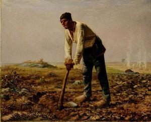Jean-François Millet - Man With A Hoe - (Famous paintings reproduction)