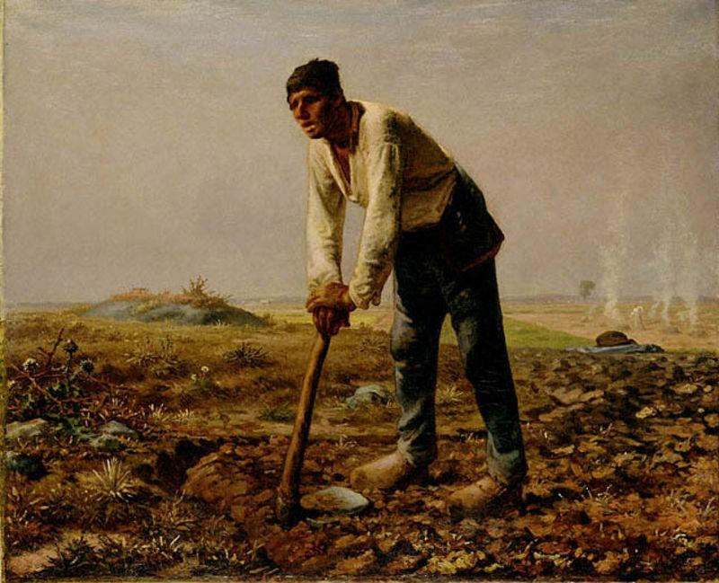 Man With A Hoe, Oil by Jean-François Millet (1814-1875, France)